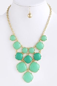 Square Cluster Bubble Necklace Mint $21.95 #Jewelry #Fashion #Style #Weddings