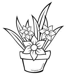 Mewarnai Gambar Bunga Dalam Pot