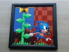 Sonic The Hedgehog Hama mini beads by PixelBeadPictures