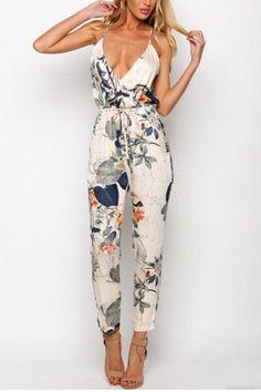 Random Floral Print V-neck Sleeveless High-waisted Jumpsuits