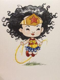 Chibi Wonder Woman by Jill Thompson Baby Wonder Woman, Wonder Woman Art, Wonder Women, Illustrations, Illustration Art, Pamela Isley, Superman, Arte Quilling, Warrior Princess