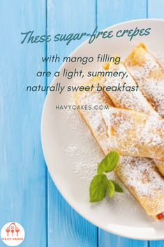 These sugar-free crepes with mango filling are a light, summery, naturally sweet breakfast   ơThis article will guide you on how to make mango crepes. These sweet crepes are ideal for a dessert treat for your loved ones and friends. It only requires some practice with swirling the pan while you are cooking crepes. That's it. So let's start to make some sweet and tasty mango crepes.  #howtomakeMangoCrepes #mangocrepesrecipes #havycakes #howtomakecrepes Crepe Delicious, Delicious Cake Recipes, Yummy Cakes, Dessert Recipes, Mango Crepes Recipe, Crepe Maker, How To Make Crepe, Mango Cake, Crepe Recipes