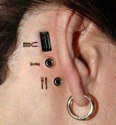3d tattoo hinter dem ohr | freshideas