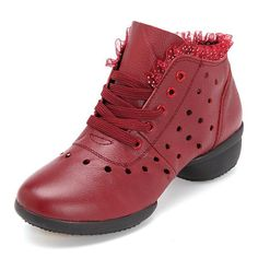 Leather Lace Breathable Hollow Out Soft Sole Casual Shoes