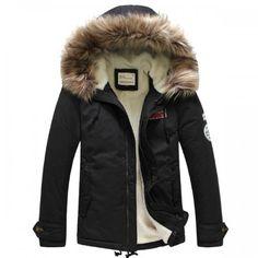 bc8d7c43e6 Doudoune Homme Parka Capuche fourrure Classique Chic Luxury Noir Manteau D' hiver, Manteau Hiver