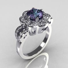 OMG this IS THE RING I WOULD LOVE TO HAVE!!  Classic 14K White Gold 10 Carat Alexandrite Diamond by artmasters, $1299.00