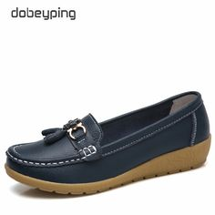 ad09ee5dbbc2 dobeyping 2018 Spring Autumn Shoes Woman Cow Leather Flats Women Slip On  Women's Loafers Female Moccasins Shoe Large Size 35-41