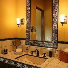 Mexican Talavera Tiles On Fireplaces | Mexican Talavera Tile Bathroom    Clay And Porcelain Body Hand. Spanish Style ...