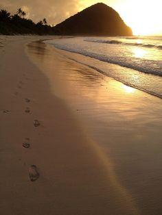 Leaving fresh tracks in the sand at Long Beach Bay, Tortola, British Virgin Islands