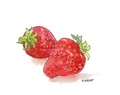 Strawberries Pen and Ink Watercolor Original Gift Idea Foodies Berries Drawing Illustration Garden Kitchen Wall Decor Garden Fruit Red green