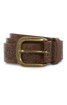 Primark - Brown Floral Embossed Belt