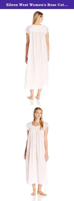 Eileen West Women's Rose Cotton Lawn Ballet Nightgown, Light Peach, Medium. Delicate lace details create a wispy summer's dream on the Eileen West rose cotton lawn ballet nightgown.