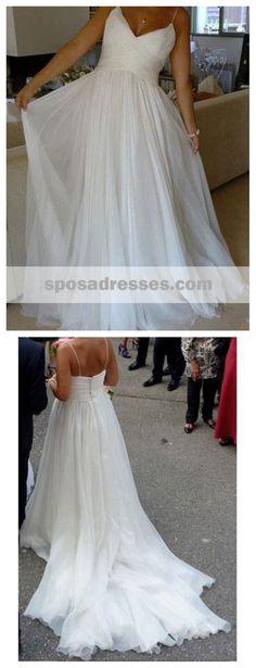 Spaghetti Straps A-line Cheap Simple Wedding Dresses Online,