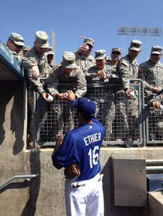 HAPPY BIRTHDAY ANDRE! Birthday boy Andre Ethier takes time to sign autographs for our men in uniform!