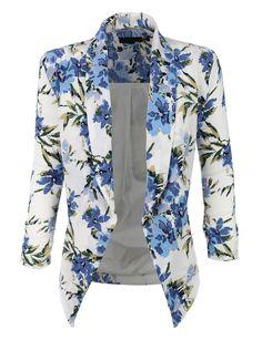 LE3NO Womens Textured 3/4 Sleeve Floral Print Draped Blazer Jacket