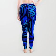Blue symbols Leggings by Ludodesign | Society6