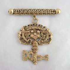 Vintage Ornate Renaissance Style Dangling Key Pin