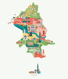 Taipei – Maps of Asia, lovely illustrated by Jing Zhang.