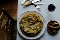 Autumn vegetable tarte tatin  with endives, chestnuts, Jerusalem artichokes