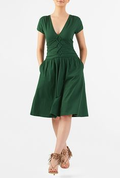 I <3 this Lattice work empire cotton knit dress from eShakti