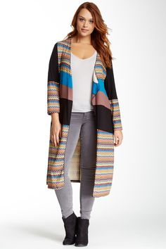 Aster & Lily Chevron Print & Colorblock Cardigan (Plus Size) by Aster & Lily on @HauteLook