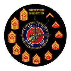 U.S.M.C./ SEMPER FIDELIS / MARINE CORPS ENLISTED RANKS / LARGE WALL CLOCK / CLICK ONTO PHOTO TO GAIN ACCESS TO PURCHASE.