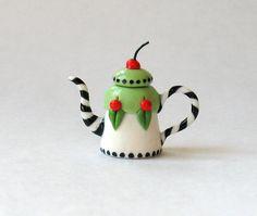 Miniature ME Cherry Teapot OOAK by C. Rohal por ArtisticSpirit, $26.50