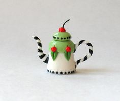 Miniature ME Cherry Teapot OOAK by C. Rohal