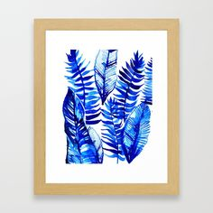 Jungle Leaves & Ferns in Blue Framed Art Print by lostmarketplace. Worldwide shipping available at Society6.com. Just one of millions of high quality products available.