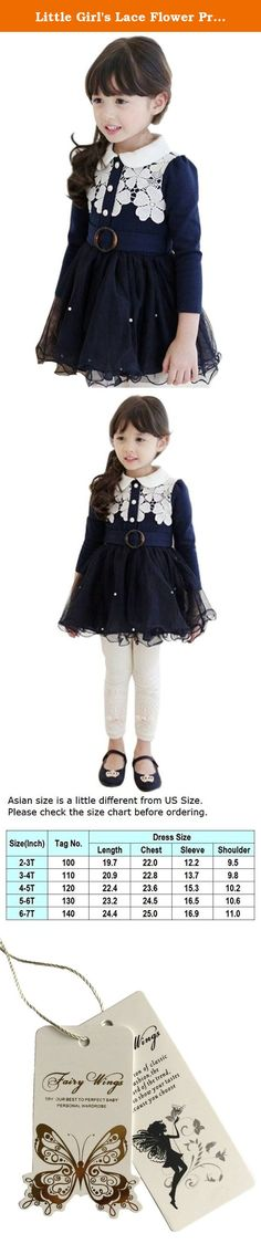 Little Girl's Lace Flower Princess Tulle Tutu Winter Dresses with Waistband Navy. Both fashion and lovely design: Doll Collar, hollow lace flower and waistband with buckle design, very beautiful and elegant dress. It is perfect for your sweetheart's daily wear and special occasion wear.