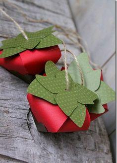 Caixas morangos para chocolates - Linda embalagem com molde para lembrancinhas em várias ocasiões ~ VillarteDesign Artesanato