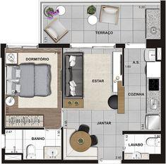 Bedroom Loft Modern Floors 57 New Ideas Studio Type Apartment, Apartment Design, Home Building Design, Home Design Plans, Small House Plans, House Floor Plans, Apartment Floor Plans, Small Apartment Plans, Hut House