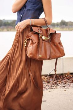 Maxi skirt and cognac leather bag. Love it!