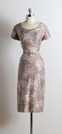 72f123aca40 vintage 1950s dress  amp  jacket   brown  amp  pink cotton   white speckled
