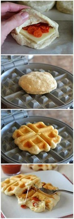Pizza Waffles How-To ~ Pillsbury? Flaky Layers Biscuits are transformed into pizza waffles! Mini golden waffles stuffed with melty cheese and pepperoni. These will be a hit with everyone! Only 4 ingredients! I Love Food, Good Food, Yummy Food, Waffle Pizza, Pizza Pizza, Waffle Waffle, Pizza Wraps, Biscuit Pizza, Waffle Cake