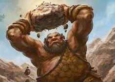 Gigante sosteniendo una roca en alto