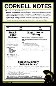 Cornell notes is a note taking strategy to help students organize what they are reading. The set up of the page makes this strategy good for note taking and studying. Avid Strategies, Note Taking Strategies, Teaching Strategies, Note Taking Tips, Teaching Tools, Teaching Resources, Taking Notes, Teaching Biology, One Note Tips