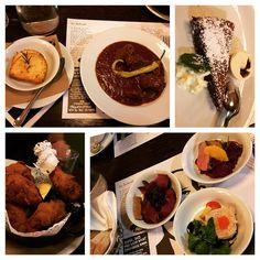 Great Late Dinner in Graz #austriantapas #smoked #boar #ham #plumjam #trout #pate #duckbreast #beef #goulash #polenta #fried #chicken #chocolate #tarte #food #nomnom #styria #thisiswhatieat #instafood #instagood #igfood #igervienna #foodcrazy #highlyrecommended Beef Goulash, Plum Jam, Polenta, Trout, Fried Chicken, Austria, Tapas, Nom Nom, Breast