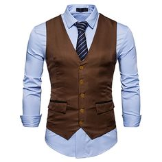 Slim fit single breasted suits vest ($28) ❤ liked on Polyvore featuring men's fashion, men's clothing, mens slimming vest, mens slim fit vest, mens vest, men's outerwear and mens vest outerwear