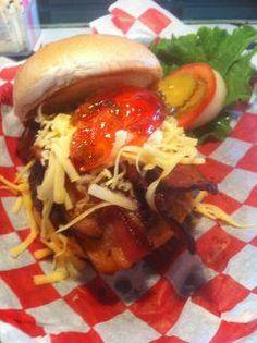Irma's Burger Shack ~ Oklahoma City ~ Smokin Bonnet: locally raised beef,scotch bonnet pepper jelly,shredded Gouda and bacon