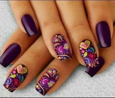 Choose from an Amazing Array of Nail Art Design Purple Nail Art, Pretty Nail Art, Purple Nail Designs, Acrylic Nail Designs, Nail Art Designs, Fancy Nails, Cute Nails, My Nails, Cute Acrylic Nails