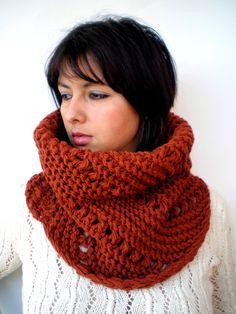 Spice Oblique  Lace  Cowl Super Soft Acrilyc Yarn by GiuliaKnit, $55.00