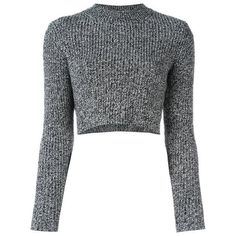Carven   Ribbed Cropped Jumper ($270) ❤ liked on Polyvore featuring tops, sweaters, black and white top, ribbed sweater, cut-out crop tops, wool sweaters and wool tops