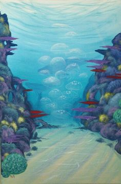 Coral reef with jellyfish