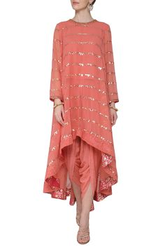 Burnt orange asymmetrical embroidered kurta with dhoti pants available only at Pernia's Pop Up Shop. Burnt orange asymmetrical embroidered kurta with dhoti pants available only at Pernia's Pop Up Shop. Pakistani Dress Design, Pakistani Dresses, Indian Dresses, Indian Outfits, Indian Designer Outfits, Designer Dresses, Designer Clothing, Kurta Designs Women, Blouse Designs