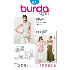 Buy Burda Women's Special Occasion Bustier Top Sewing Pattern, 7000 Online at johnlewis.com