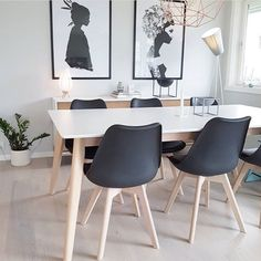 Buy this ultra cool Fusion Living Eiffel Inspired Black Plastic Dining Chair with squared Light Wood Legs for any contemporary setting. Scandi Living Room, Living Room Green, My Living Room, Minimalist Living, Minimalist Style, Plastic Dining Chairs, Eiffel Chair, Living Room Designs, Dining Area