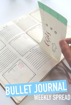 BULLET JOURNAL Weekly Spread...Bullet Journal Hack: Cut a page to create a mini area for goal-setting and menu planning each week !