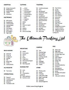 This list is not just any list, it's The Ultimate Packing List! I don't think I'll ever forget anything with this packing list. It's perfect!: