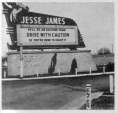Jesse James Drive-in Toledo,Ohio Drive Inn Movies, Drive In Movie Theater, Outdoor Movie Screen, Outdoor Cinema, Best Memories, Childhood Memories, Toledo Ohio, Ohio Usa, Jesse James